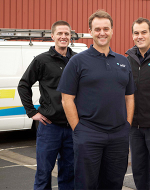 three of our Ceres plumbers standing ready by their truck